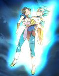 2boys armor aura black_hair blue_eyes blue_hair boots bruise cabba carrying closed_eyes dragon_ball dragon_ball_super frown full_body fuoore_(fore0042) gloves injury male_focus multiple_boys princess_carry serious spiked_hair super_saiyan super_saiyan_god_super_saiyan torn_clothes vegeta white_boots white_gloves wristband