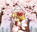 1girl :d ^_^ animated animated_gif bangs blonde_hair blue_eyes bow capelet cherry_blossoms closed_eyes commentary_request cowboy_shot dress eighth_note eyebrows_visible_through_hair facing_viewer fairy_wings flower from_side hair_bow happy hat holding holding_flower isu_(is88) lily_white long_hair long_sleeves looking_at_viewer lowres music musical_note open_mouth pink_flower pixel_art profile red_bow red_sash sash sidelocks singing smile touhou translation_request tree white_capelet white_headwear wide_sleeves wings