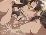1boy 1girl areolae black_hair black_kimono bleach blush boy_on_top breasts breasts_apart censored clothed_sex cum cum_in_pussy fucked_silly hand_on_another's_head hands_on_own_crotch hetero highres japanese_clothes kimono kimono_pull kuchiki_rukia kurosaki_ichigo lying maxiart missionary mosaic_censoring nipples no_bra no_panties on_back overflow parted_lips penis puffy_nipples pussy rolling_eyes sash sex short_hair small_breasts solo_focus sparkle spread_legs vaginal