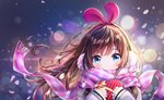 1girl a.i._channel animal_ears blue_eyes blush bow box brown_hair bunny_ears cherry_blossoms dana_(hapong07) fake_animal_ears floating_hair hairband heart-shaped_box highlights highres kizuna_ai lens_flare long_hair long_sleeves looking_at_viewer multicolored_hair pink_hairband pink_scarf plaid plaid_scarf portrait scarf scarf_over_mouth solo striped sweater valentine virtual_youtuber white_sweater