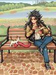 1boy ayo_(isy8800) bench black_hair blue_sky building casual cat cn_tower crossed_legs denim dragon_ball dragon_ball_gt eating food food_on_face jacket jeans lake long_hair male_focus monkey_tail pants park park_bench shoes sky skyscraper sneakers solo son_gokuu super_saiyan_4 tail tree yellow_eyes