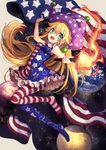 1girl :d alternate_eye_color american_flag american_flag_dress american_flag_legwear arm_up bangs bare_arms bare_shoulders bead_bracelet beads blonde_hair blue_dress blue_eyes blue_legwear blush bracelet breasts clownpiece commentary_request dress earth eyebrows_visible_through_hair flag full_body grey_background hair_between_eyes hat highres holding holding_flag holding_torch jester_cap jewelry kyouda_suzuka long_hair looking_at_viewer medium_breasts moon nail_polish neck_ruff no_shoes open_mouth pantyhose petticoat polka_dot polka_dot_hat purple_headwear red_dress red_legwear red_nails short_dress simple_background sleeveless sleeveless_dress smile solo space_print star star_print starry_sky_print striped striped_dress striped_legwear torch touhou very_long_hair white_dress white_legwear