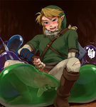 !? 1boy anal anus blonde_hair blush boots breath brown_boots hat knee_boots link looking_down male_focus male_masturbation master_sword masturbation pantyhose pointy_ears shiwashiwa_no_kinchakubukuru smile solo_focus spread_anus sword the_legend_of_zelda torn_clothes torn_pantyhose tunic weapon