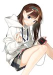 1girl absurdres black_ribbon blue_eyes brown_hair cellphone earbuds earphones earrings grey_skirt highres holding holding_phone hood hood_down hooded_sweater huge_filesize jewelry kanojo_okarishimasu long_hair looking_at_viewer miyajima_reiji mizuhara_chizuru phone ribbon shiny shiny_hair shiny_skin simple_background single_earphone_removed sitting skirt smartphone smile solo striped striped_skirt sweater white_background white_sweater