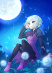 1girl blue_eyes dandelion dress flower gundam gundam_build_fighters gundam_build_fighters_try kijima_shia m_george moon night pantyhose short_hair silver_hair sitting smile solo