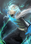 1boy blue_eyes blue_fire cape email555 fire gloves glowing glowing_eyes highres long_hair lunatic_(tiger_&_bunny) male realistic silver_hair solo superhero tiger_&_bunny white_hair yuri_petrov