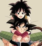 1boy 1girl :d armor arms_around_neck bardock bare_arms bare_shoulders black_eyes black_hair chin_on_head chin_rest dragon_ball frown gine grey_background happy hug hug_from_behind looking_at_another looking_up lowres nervous open_mouth scar serious shaded_face short_hair simple_background smile spiked_hair sweatdrop twitter_username upper_body