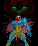 1girl arm_cannon armor arms_at_sides blank_eyes copyright_name full_armor fusion_suit helmet kusada metroid metroid_fusion power_suit sa-x samus_aran standing visor_(armor) weapon