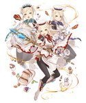 3girls animal_ears blonde_hair cake cosplay feathers final_fantasy food full_body gloves hat ji_no macaron multiple_girls official_art pantyhose pig_ears plump purple_eyes sandwich sinoalice skinny smile staff three_little_pigs_(sinoalice) transparent_background upper_teeth vial white_mage white_mage_(cosplay) wide_sleeves