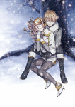 1boy 1girl against_tree black_footwear black_pants blonde_hair boots brother_and_sister closed_eyes flower hair_between_eyes kagamine_len kagamine_rin knee_boots outdoors pants pantyhose parted_lips pink_flower siblings snowing spiked_hair suzunosuke_(sagula) tree vocaloid