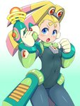 1girl android blonde_hair blue_eyes blush bodysuit breasts cameltoe capcom clenched_hand covered_navel covered_nipples cowboy_shot energy_gun gloves gradient gradient_background headgear highres holding holding_weapon konboi-eg looking_at_viewer open_mouth palette_(rockman) pantyhose robot_ears rockman rockman_x rockman_x8 simple_background skin_tight small_breasts solo twintails weapon white_gloves