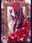 1girl achikoako closed_eyes covering covering_breasts flower hair_flower hair_ornament hands_on_own_chest headdress long_hair megurine_luka nail_polish pink_hair profile rose solo thorns topless vines vocaloid