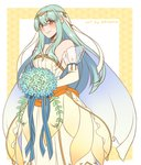1girl adricarra bare_shoulders blue_hair bouquet bridal_veil bride cape dress elbow_gloves fire_emblem fire_emblem:_rekka_no_ken fire_emblem_heroes flower gloves hair_flower hair_ornament highres jewelry long_hair looking_at_viewer mamkute ninian red_eyes rose smile solo strapless strapless_dress veil wedding_dress white_dress
