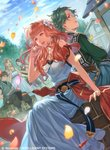 2boys 3girls alm_(fire_emblem) alternate_costume back-to-back blonde_hair braid brown_hair celica_(fire_emblem) cloud cloudy_sky day dress drum earrings eyebrows_visible_through_hair fire_emblem fire_emblem_cipher fire_emblem_echoes:_mou_hitori_no_eiyuuou flower flute green_eyes green_hair hair_flower hair_ornament hand_in_hair house instrument jewelry kato_ayaka long_hair multiple_boys multiple_girls necklace official_art open_mouth orange_hair outdoors pants parted_lips petals profile sash shirt short_hair sitting sky sleeveless tree vest watermark white_dress wind