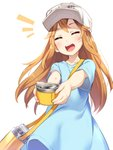 1girl :d asutora blue_shirt brown_eyes brown_hair closed_eyes commentary_request facing_viewer flat_cap hat hataraku_saibou highres long_hair open_mouth outstretched_arms platelet_(hataraku_saibou) shirt simple_background smile solo thermos white_background white_hat