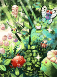budew butterfree caterpie exeggcute forest grass hoppip kakuna nature no_humans oddish open_mouth petilil plant pokemon skiploom sunkern tegaki toudou_maguro