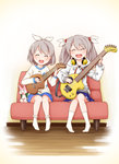 0_0 2girls :d ^_^ blue_skirt blush brown_hair child closed_eyes commentary_request couch electric_guitar eyebrows_visible_through_hair floral_print full_body guitar hair_between_eyes hair_bobbles hair_ornament hair_ribbon happy haradaiko_(arata_himeko) head_tilt headphones headphones_around_neck honya_(raramagi) hood hoodie instrument long_sleeves multiple_girls music no_shoes open_mouth plaid plaid_skirt playing_instrument pleated_skirt raramagi ribbon shirt siblings sisters sitting skirt smile socks star star_print stuffed_animal stuffed_toy twintails ukulele uzuki_manaka uzuki_sachi white_background white_legwear white_ribbon white_shirt wooden_floor