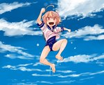 1girl :d >:d ahoge arm_up blue_sky cherry_blossoms cloud full_body hair_ornament i-58_(kantai_collection) jumping kantai_collection one-piece_swimsuit open_mouth petals pink_eyes pink_hair school_swimsuit school_uniform serafuku shirt short_hair short_sleeves sky smile solo swimsuit swimsuit_under_clothes watanore water wet wet_clothes wet_shirt