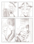 2girls ao_usagi blush comic greyscale hakurei_reimu kirisame_marisa monochrome multiple_girls silent_comic sleeping touhou yuri