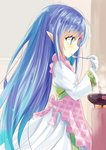 1girl apron bandaged_hands bandages bangs blue_eyes blue_hair closed_mouth commentary_request cooking dress elf eyebrows_visible_through_hair fire forehead_jewel from_side hair_between_eyes highres hizaka holding holding_spoon juliet_sleeves licking long_hair long_sleeves pink_apron pointy_ears profile puffy_sleeves rance_(series) rance_quest reset_kalar smile solo spoon standing tongue tongue_out unmoving_pattern very_long_hair white_dress wide_sleeves