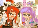 6+girls :< animal_ears bad_id bad_pixiv_id bat_wings bespectacled brown_eyes cat_ears cat_tail closed_eyes cup flandre_scarlet glasses head_wings hong_meiling in_container in_cup itsukia izayoi_sakuya kemonomimi_mode kirisame_marisa koakuma minigirl multiple_girls one_eye_closed patchouli_knowledge red_hair remilia_scarlet tail tea touhou wings