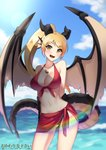 1girl :d absurdres artist_name bikini black_bikini_bottom blonde_hair blue_sky breasts cleavage cloud commission cowfee day dragon_girl dragon_tail dragon_wings eyebrows_visible_through_hair fang head_fins highres horns jewelry large_breasts lens_flare long_hair looking_at_viewer monster_girl navel open_mouth outdoors pendant ponytail red_bikini_top red_sarong sarong sky slit_pupils smile solo swimsuit tail water wings yellow_eyes