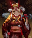 1girl absurdres blonde_hair club facial_mark fate/grand_order fate_(series) hand_on_hip highres holding holding_weapon horns ibaraki_douji_(fate/grand_order) japanese_clothes kanabou kimono long_hair looking_at_viewer makise_medaka oni sash slit_pupils solo spiked_club weapon yellow_eyes