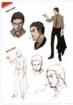 1boy absurdres artbook cigarette doujima_ryoutarou facial_hair highres male_focus necktie official_art persona persona_4 scan shirt sketch soejima_shigenori stubble