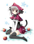 1girl animal_ears apple bite_mark black_legwear blush capelet cat_ears cat_tail dress food frilled_skirt frills fruit hood korie_riko looking_at_viewer miniskirt original red_eyes silver_hair sitting skirt solo star tail thighhighs v_arms wariza