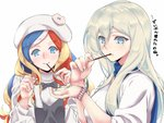 2girls bangs black_bow blue_eyes blue_hair blue_scarf bow commandant_teste_(kantai_collection) eating food hair_between_eyes hat kantai_collection long_sleeves looking_at_watch mole mole_under_eye mole_under_mouth multicolored_hair multiple_girls pocky pocky_day red_hair richelieu_(kantai_collection) scarf shingyo smile sweater swept_bangs watch white_hair white_hat white_sweater wristwatch