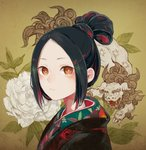 1girl black_hair closed_mouth commentary_request expressionless face fine_art_parody flower hair_bun highres kamura_gimi leaf lion looking_at_viewer nihonga original parody patterned_clothing peony_(flower) portrait red_eyes solo upper_body white_flower