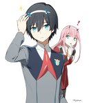 ! 1boy 1girl black_hair blue_horns can't_be_this_cute commentary_request darling_in_the_franxx gloves hand_on_own_head hiro_(darling_in_the_franxx) horns long_hair military military_uniform necktie oni_horns pink_hair red_horns red_neckwear spoilers toma_(norishio) uniform white_gloves zero_two_(darling_in_the_franxx)