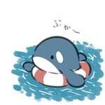 afloat animal beni_shake chibi commentary_request innertube looking_away no_humans original solid_circle_eyes striped translation_request water whale white_background