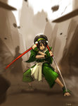1girl ankle_cuffs anklet avatar:_the_last_airbender avatar_(series) barefoot blind capri_pants chinese_clothes closed_eyes crossover darren_geers highres jewelry katana pants parody reverse_grip sheath shirasaya sword toph_bei_fong weapon zatoichi