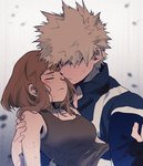 1boy 1girl bakugou_katsuki bare_shoulders blush_stickers boku_no_hero_academia breasts carrying closed_eyes debris hair_over_one_eye half-closed_eyes hand_on_another's_shoulder jacket pants princess_carry red_eyes spiked_hair tank_top torn_clothes track_jacket track_pants uraraka_ochako xixyuuuuuu