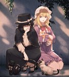 2girls bangs black_capelet black_cat black_eyes black_footwear black_hair black_headwear black_skirt blonde_hair bow bowtie capelet cat chen chen_(cat) commentary_request dress eyebrows_visible_through_hair fedora hair_over_one_eye hand_up hat hat_bow highres houraisan_chouko kneeling long_hair long_skirt long_sleeves looking_at_another maribel_hearn mob_cap multiple_girls multiple_tails nekomata purple_dress purple_eyes red_bow red_neckwear ribbon-trimmed_skirt ribbon_trim shadow shirt shoes short_dress short_hair skirt socks squatting tail touhou two_tails usami_renko white_bow white_headwear white_legwear white_shirt