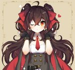 1girl ;o ahoge bangs black_gloves blush bow breasts brown_background brown_eyes brown_hair commentary_request dress eyebrows_visible_through_hair fingerless_gloves girls_frontline gloves grey_dress hair_between_eyes hair_bow hands_up heart long_hair one_eye_closed parted_lips puchipu qbz-97_(girls_frontline) red_bow short_sleeves small_breasts solo sparkle twintails upper_body very_long_hair