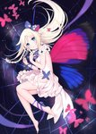 1girl backless_dress backless_outfit bare_shoulders barefoot blue_eyes bow bug butterfly butterfly_wings dress full_body hair_bow highres insect long_hair looking_at_viewer lying omelet_tomato on_side original parted_lips tears white_dress white_hair wings