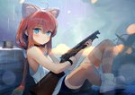 1girl :< ahoge animal_ear_fluff animal_ears barbed_wire bare_shoulders battlefield_(series) battlefield_1 bike_shorts blue_eyes blush cat_ears closed_mouth czech_hedgehog eyebrows_visible_through_hair gun hair_bobbles hair_ornament hinata_channel holding holding_gun holding_weapon long_hair looking_at_viewer looking_to_the_side loose_clothes nekomiya_hinata on_ground pink_hair rain shoes shotgun sitting solo striped striped_legwear thighhighs treeware very_long_hair virtual_youtuber weapon white_legwear winchester_model_1897 wristband
