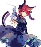 1girl :3 black_dress bow cat_tail closed_mouth dress dress_lift hair_bow ikeuchi_tanuma kaenbyou_rin looking_at_viewer magic multiple_tails nekomata official_art red_eyes red_hair simple_background skull smile solo standing tail touhou two_tails white_background
