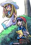 bangs bare_arms blonde_hair blue_shoes blue_skirt blunt_bangs brown_eyes cosplay costume_switch dress grass green_eyes hand_on_headwear lillie_(pokemon) murazina pikachu pokemon pokemon_(anime) pokemon_(creature) pokemon_(game) pokemon_sm pokemon_sm_(anime) satoshi_(pokemon) shoes short_dress shorts simple_background skirt sundress tree white_background
