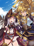 1boy 1girl amagaeru_(hylathewet) animal_ears armor belt blonde_hair blue_eyes blush cat_ears character_request cloak dress fingerless_gloves flat_chest full_armor gloves granblue_fantasy highres holding holding_hands hood hooded_cloak long_hair one_eye_closed open_mouth orange_eyes pauldrons shoulder_pads silver_hair skasaha_(granblue_fantasy) tissue