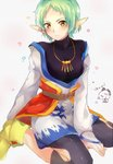 1girl :| belt bird blush breasts brown_eyes chicken closed_mouth commentary_request grandia grandia_xtreme green_hair grey_background highres jewelry looking_at_viewer lutina_(grandia) necklace pointy_ears ruru_kirby short_hair simple_background sitting solo wariza yellow_footwear