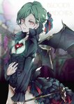 1boy alternate_costume alternate_eye_color baniito black_ribbon blue_ribbon choker collarbone commentary_request demon_wings english_text eyebrows_visible_through_hair from_side green_hair hair_ornament heart highres holding holding_staff long_hair long_sleeves looking_at_viewer male_focus mikaze_ai nail_polish red_eyes red_nails red_ribbon ribbon solo staff uta_no_prince-sama wings