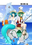 2girls bare_legs blouse bow breasts bulbasaur charmander cleavage cloud commentary day drill_hair eating fishing_rod food gen_1_pokemon gen_2_pokemon gen_3_pokemon hat hat_bow head_fins highres kazami_yuuka lapras large_breasts marill mattari_yufi mermaid miniskirt monster_girl multiple_girls outdoors pokemon pokemon_(creature) puffy_short_sleeves puffy_sleeves sandals sandwich short_sleeves sitting skirt sky smile squirtle touhou trembling wakasagihime water white_blouse wingull