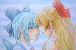 2girls alternate_hair_color bare_shoulders blonde_hair blue_background blue_eyes blue_hair cirno eye_contact face-to-face hair_ribbon hair_tubes hakurei_reimu half_updo head_to_head looking_at_another multiple_girls open_mouth ribbon short_hair striped striped_background touhou traditional_media upper_body watercolor_(medium) wings yellow_eyes yuyu_(00365676)