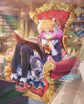 1girl absurdres animal_ears black_legwear blonde_hair blue_dress blurry blurry_foreground book book_stack bookshelf borrowed_character bow bowtie cabinet closed_mouth commentary_request cup curtains daikazoku63 day depth_of_field dress flower frills glasses globe gradient_hair hair_ornament high_heels highres indoors knees_up library light_rays lolita_fashion long_sleeves looking_at_viewer mary_janes multicolored_hair open_book original pantyhose petticoat pink_footwear plant pot potted_plant purple_eyes purple_hair red-framed_eyewear shoes short_hair sitting smile solo teacup throne yellow_neckwear