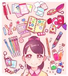 1girl bangs black_hair border bow chain collared_shirt food fruit grapes hair_bow heart index_finger_raised kisaragi_yuu_(fallen_sky) looking_at_viewer multicolored multicolored_eyes original pen pink_shirt ponytail red_bow shirt smile solo star strawberry sweater white_border yellow_sweater