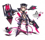 1girl armor armpits axe bare_shoulders breasts chemistry cyborg detached_sleeves dual_wielding english fingerless_gloves gia gloves glowing gun gunblade hammer handgun hat huge_weapon navel neon_trim original personification pink_eyes robotic_legs shadow short_hair simple_background small_breasts solo tail underboob weapon white_hair