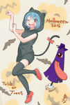1girl animal_ears black_dress blue_hair cat_ears cat_tail commentary dress halloween hood karakasa_obake paw_pose red_eyes short_dress standing standing_on_one_leg tail tatara_kogasa thighhighs touhou umbrella yuzuna99 zettai_ryouiki